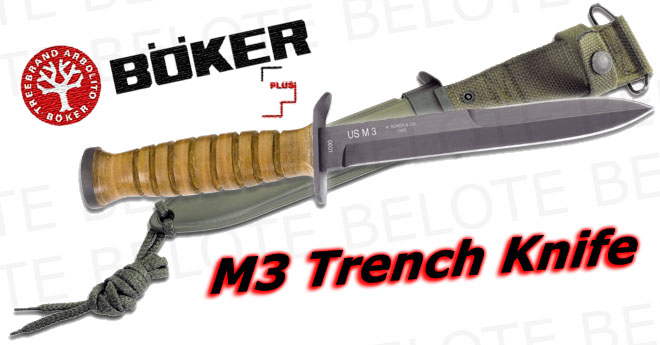 Boker Plus M3 Trench Knife W Metal Scabbard 02bo1943