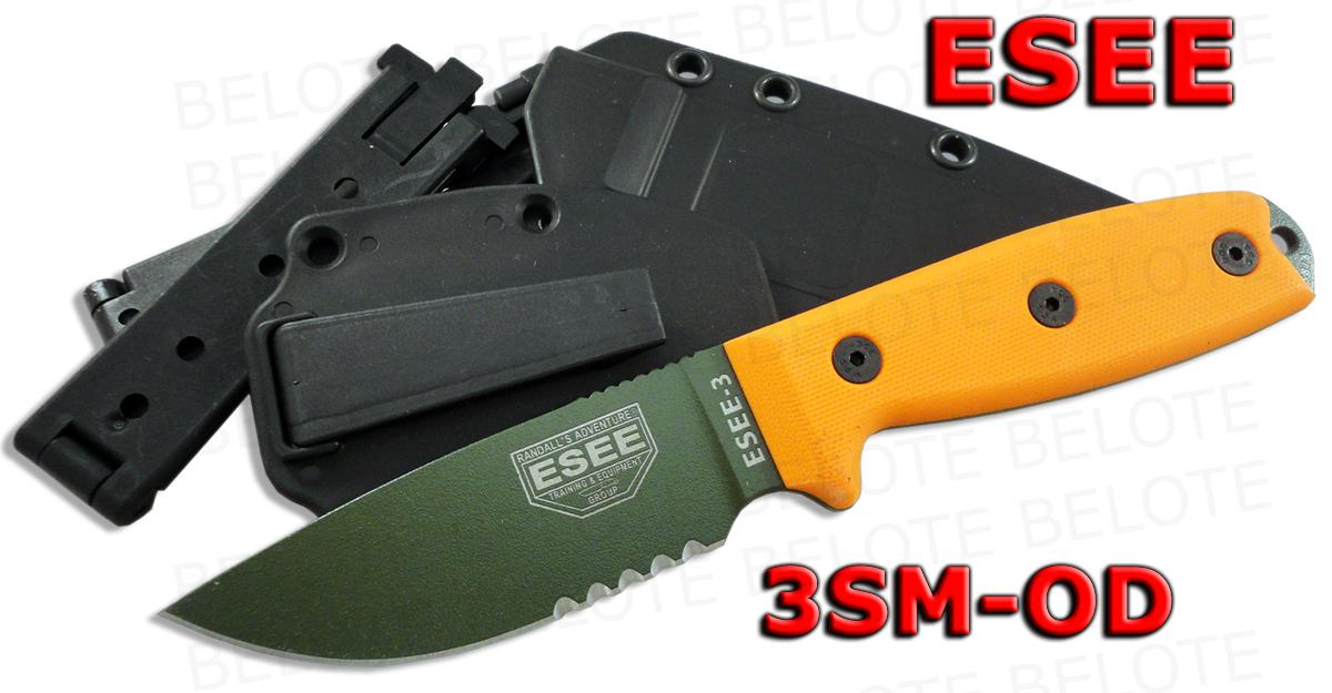 Esee Model 3 Od Grn Serrated Blade Rounded Pommel Black