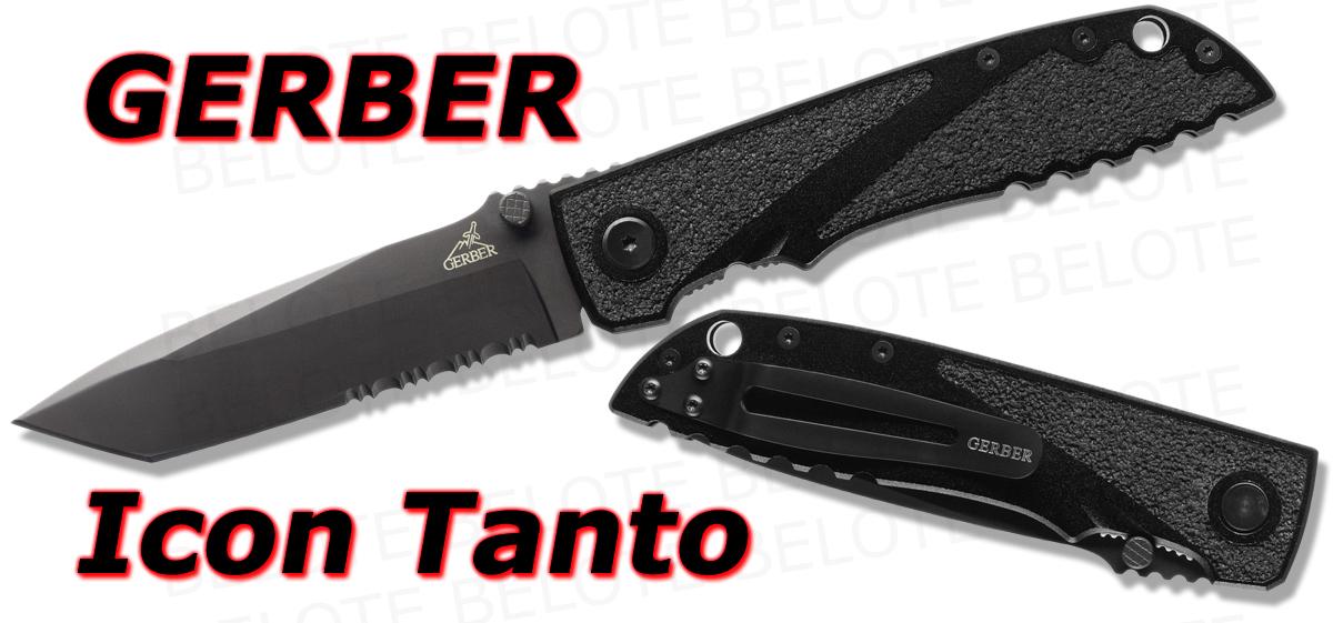 Gerber Icon Tanto Folder Black Serrated 30 000372 New Ebay