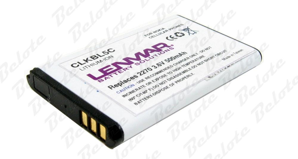 Lenmar Cell Phone Battery CLKBL5C Fits Nokia Models