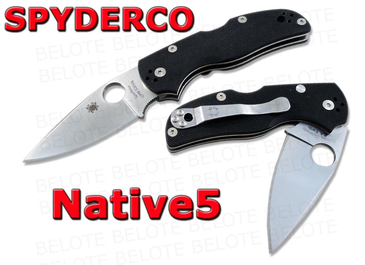 Spyderco Native5 Folder Plain Edge G 10 Handle Cpm S35vn
