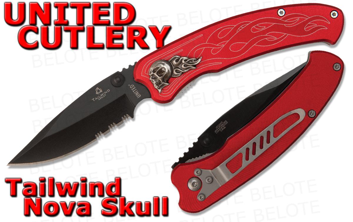 United Cutlery Tailwind Assisted Nova Skull Folding Knife