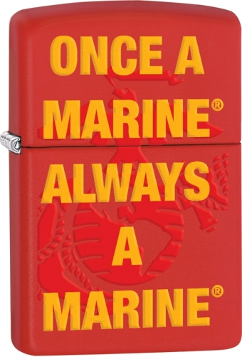 zippo us marine corp  once a marine always a marine  red