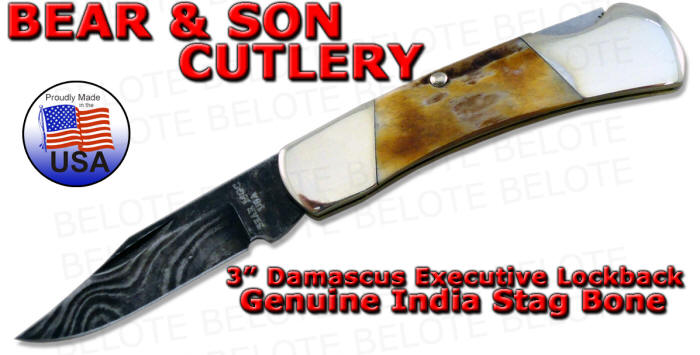 Bear Amp Son 3 Quot Damascus Stag Executive Lockback 526d New