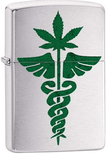 Zippo Custom Medical Marijuana Weed Leaf Green Brushed